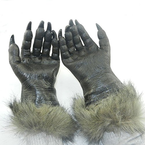 BulzEU Hairy Hände Werwolf Wolf Pfoten Klauen Cosplay Handschuhe Wolf Kostüm Requisiten Animal Fancy Kleid Zubehör Halloween Party Fake Körperteile Halloween ()