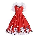 Kleider Damen Kleid 1950er Vintage Brautjungfernkleid Petticoat Kurz Ballkleid Kleiderbügel Hepburn, Halloween Printed Lace Kurzarm Abendkleid Swing Dress(Small,29)