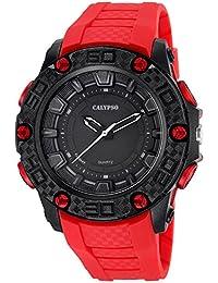 Calypso de hombre reloj de pulsera Sport Analog PU de pulsera Rojo Reloj de cuarzo esfera negro uk5699/2