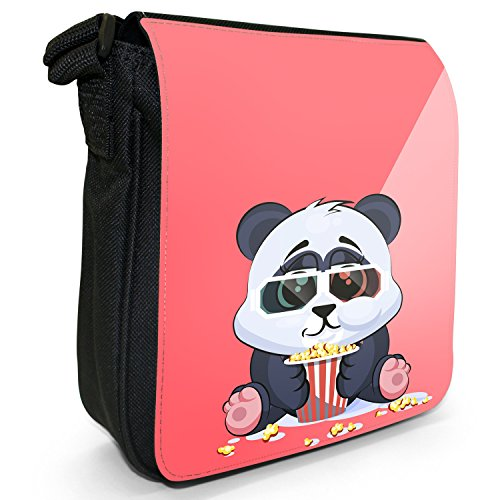 Fancy A Snuggle, Borsa a tracolla donna Fröhliches Pandajunges isst Popcorn