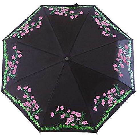 Tianqi asombroso Cambio de color Paraguas Plegable Ligera con Anti-UV y cortavientos funtions adecuado tanto para de sol y lluvia días–Cambiador de blanco a rosa cuando encounting