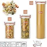TATAY Lot de 3pots de cuisine Bocaux Hermétiques en plastique de haute qualité avec fermeture de sécurité en 3dimensions 1L 1.5L et 2.5l