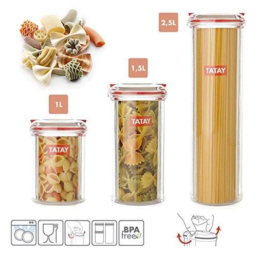 TATAY Lot de 3 pots de cuisine Bocaux Hermétiques en plastique de haute qualité avec fermeture de sécurité en 3 dimensions 1L 1.5L et 2.5l