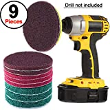 SIQUK 9 Pieces Scrub Brush Pads 5 Inches Drill Power Brush Tile Scrubber