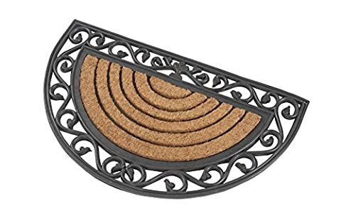 Halbrunde premium Fußmatte aus Gummi und Kokosfasern, 76 x 46 cm | ✓ 3 kg Fußabtreter verhindert verrutschen ✓ Robuste & repräsentative Schmutzfangmatte, Sauberlaufmatte, Schmutzmatte ✓ Fußabstreifer für Eingangsbereich von Haus und Wohnung
