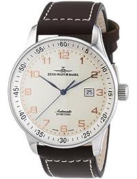 Zeno Watch Basel Pilot XL p554Z-f2 - Reloj de caballero automático, correa de piel color marrón