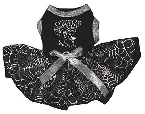 petitebelle Puppy Kleidung Hund Kleid Boos Ghost schwarz Top Silber Cobweb ()