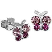 Tee-Wee bambini orecchini farfalla zirconi rosa/Stud orecchini gioielli in argento Sterling 925Rosa Glitterati per Bambini SDO8014A