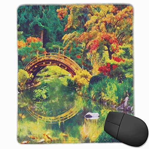Mouse Mat Stitched Edges, Fairy Image Of A Japanese Garden With An Old Ancient Bridge The Lake Nature Print,Gaming Mouse Pad Non-Slip Rubber Base
