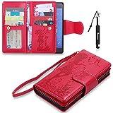 Xperia Z3 Hülle, Xperia Z3 Tasche Leder, Huphant Flip Case Leder [9 Credit Cards & Imprited Girl Leather Case Wallet Case Magnet Case Schutzhülle Klappbar für Sony Xperia Z3(5.2