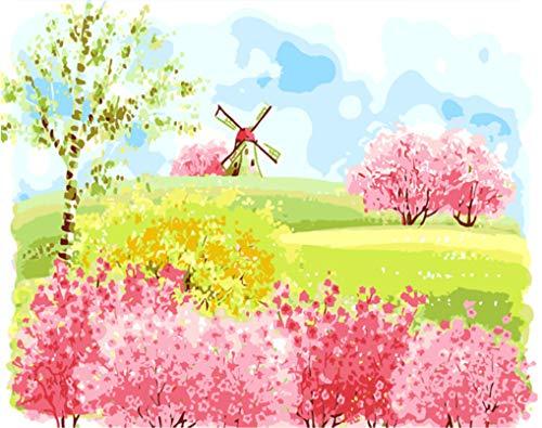 UJGIOY No Frame Windmühle DIY Malen Nach Zahlen Abstrakte Bauernhof Ölgemälde Auf Leinwand Rosa Bäume Acryl Wandkunst Geschenk 40 cm X 50 cm