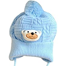 Pu Ran® Newborn Baby Girls Boys Cute Knitted Bobble Hat Warm Soft Pom-Pom Cap