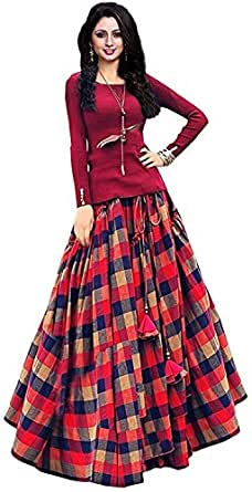 fashionable village Women's Bangalori Satin Long Skirt Gown and Top (Red, Free Size)