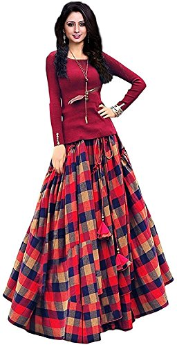 MA KHODAL FASHION Women's Tapeta Silk Lengha Choli (PAYAL2, Red, Free Size)