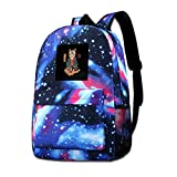 Galaxy bedruckte Schultertasche Neko Sushi Bar Cat Fashion Casual Star Sky Rucksack für Jungen &...