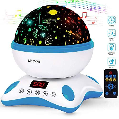 Moredig - LED Sternenhimmel Projektor Lampe, Musik Nachtlicht Sterne Lampe 360° Rotation+12 Beruhigende Musik+8 Romantische licht, Perfektes für Kinder, Geburtstage, Halloween usw - Blau und Weiß