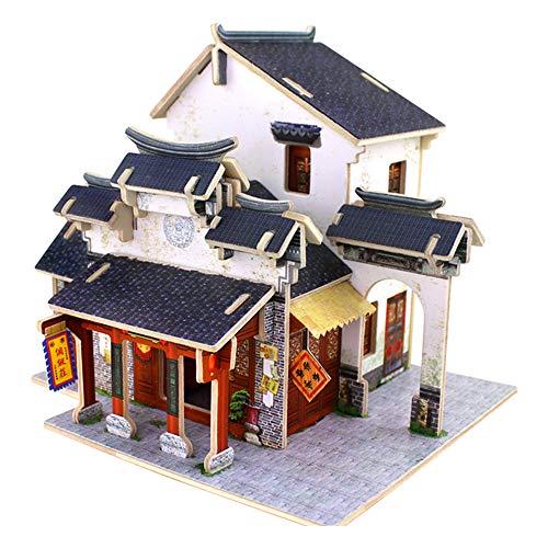 GEMSeven DIY Holzbau Haus Spielzeug Modell 3D Gebäude Haus Puzzle Kinder Lernspielzeug für Kinder Schloss Modell Puzzle