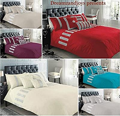 Superior Cotton Luxury SEQUENCE LACE Sparkly Duvet Cover Quilt Bedding Set - low-cost UK light store.