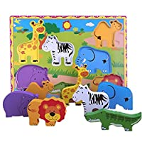 Lewo Wooden Animals Chunky Puzzle for Toddlers Preschool Learning Educational Toys