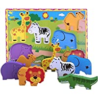 Lewo Wooden Wild Animals Chunky Puzzle for Toddlers Preschool Learning Educational Toys 7 Pieces