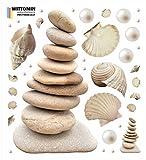 Vinyl Aufkleber Beige Steine und Muscheln