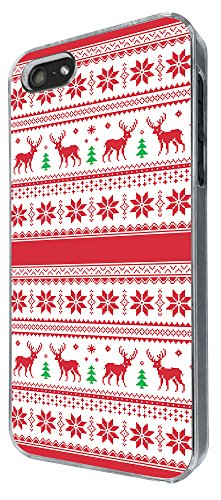 Iphone 5 5S Christmas Holiday Case Aztec Red Design Dear Cool Fun (10) Design Fashion Trend Case Back Cover Metal and Hard Plastic Case-Clear Frame Rot Gucci Frames