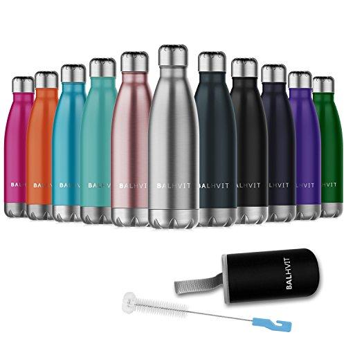 Balhvit Trinkflasche, BPA Frei Doppelwandige Vakuum-isolierte Edelstahl Wasserflasche, Thermosflasche Halten Kalt/Heiß, Trinkflaschen Sport für Kinder, Erwachsen, Reisen, Auto