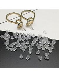 Paquete de 200 tapones para los oídos reutilizables de silicona suave y transparente, accesorios de joyería duraderos