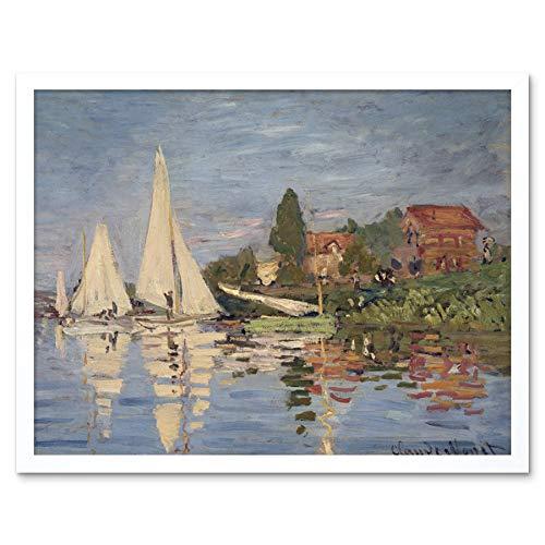 Claude Monet Regattas at Argenteuil Art Print Framed Poster Wall Decor 12x16 inch Wand Deko - Claude Monet-regatta Bei Argenteuil