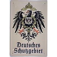 Deutsches Schutzgebiet Adler targa placca metallo curvo Nuovo 20x30cm VS172