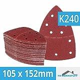 50 unidades de 105 x 152 mm antiadherente de hojas de lija corindón grano 240 para multilijadora 11 orificios, hojas de lija