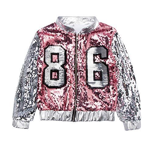 uirend Tanzsport Bekleidung Mädchen Kleider - Kinder Erwachsene Tanzen Hip Hop Modern Kostüme Pailletten Anzüge Sets Weste + Shorts Mantel ()