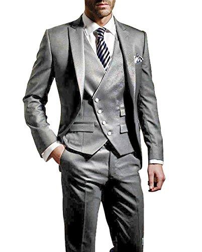 Suit Me Herren 3-Teilig Anzug Slim Fit Hochzeiten Party Smoking Anzuege Sakko,Weste,Hose Grau