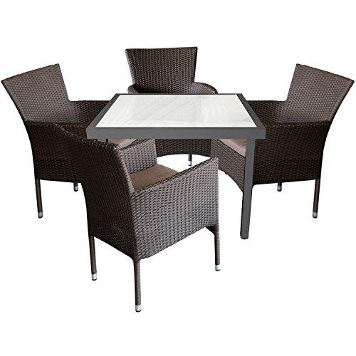 Multistore 2002 5tlg. Gartengarnitur Aluminium Glastisch 90x90cm mit satinierter Tischglasplatte + Rattansessel, stapelbar, Polyrattanbespannung, Braun-Meliert inkl. Sitzkissen