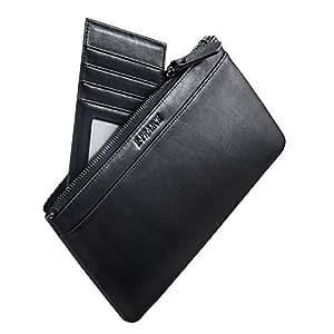 E-PRANCE Lungo Portafoglio, Grande capacità di lusso raccoglitore del cuoio genuino delle donne/ Uomo con la chiusura lampo Pocket