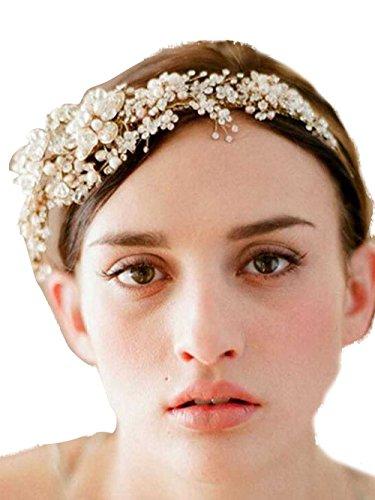 gracewedding Vintage Rhinestone Crystal Pearl tocado novia diadema boda accesorios para el pelo