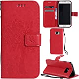 Ooboom® Samsung Galaxy S7 Edge Case Cat Tree Pattern PU Leather Flip Cover Wallet Stand with Card/Cash Slots Packet Wrist Strap Magnetic Clasp for Samsung Galaxy S7 Edge - Red