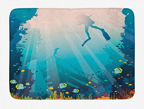 KAKICSA Sea Life Bath Mat, Silhouette of a Scuba Diver Sunken Ship and Coral Reef, Plush Bathroom Decor Mat with Non Slip Backing, Pale Slate Blue Teal and Multicolor,19.6X31.4 inch -