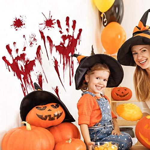Prevently Halloween Blut Handabdruck Aufkleber Blut Hand Aufkleber Zombie Halloween Leben Größe Auto Wand Boden Sticks Decor