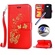LG K5 Wallet Case,LG K5 Flip Case,Etsue Luxury Gold Butterfly Pattern Pu Leather Strap Wallet Case Cover with Stand and Card Holder for LG K5+Blue Stylus Pen+Bling Glitter Diamond Dust Plug(Colors Random)-Butterfly,Red