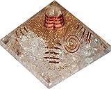 Orgonite pyramide Cristal aux 4 spirales -Base 7 cm -(Aide à la réussite dans tous les domaines !)