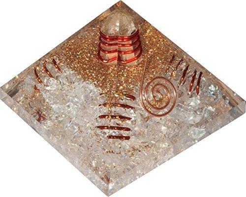 Orgonite pyramide fleur de vie Cristal aux 4 spirales (Aide à la réussite dans tous les domaines !)