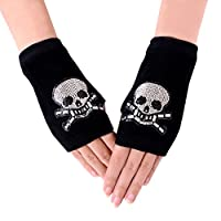 JISEN Women Punk Winter Knitted Stretchy Soft Arm Warmer Fingerless Gloves