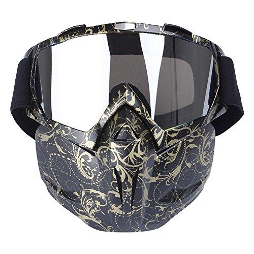 Máscara con gafas resistente al viento multifunción Aolvo para motocicleta/airsoft/CS/paintball/esquí/moto de nieve/equitación/bicicleta para niños y adultos, Golden Pattern