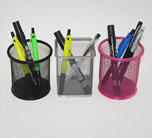 KKLL Storage Box Metall Praktische Kreative Fashion Square Kreisnetz Stationery Office Desktop Storage Stifthalter Gelegentliche Farbe (Packung mit 12)