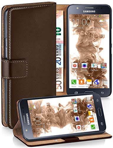 moex® Booklet mit Flip Funktion [360 Grad Voll-Schutz] für Samsung Galaxy J5 (2015) | Geldfach und Kartenfach + Stand-Funktion und Magnet-Verschluss, Dunkel-Braun