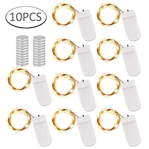 LED Micro Lichterkette,10 Stück 2M 20 LED String Fairy Light Batterie R2032,Wasserdicht String Fairy Light Batterie Lichterkette für Party, Hochzeits,Garden,Christmas Dekor, Indoor Outdoor (Warmweiß)