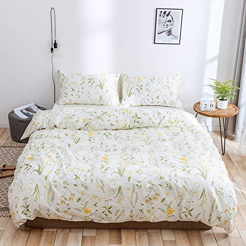 TIANQIZ Blumenmuster Bettwäsche Tröster Set mit 100% Baumwolle Mikrofaser Pflanze Bettbezug Set mit Kissenbezug Natural Bedding Quilt Bettwäsche Queen-Set (Color : A, Size : AU-Single(150X200cm)) -
