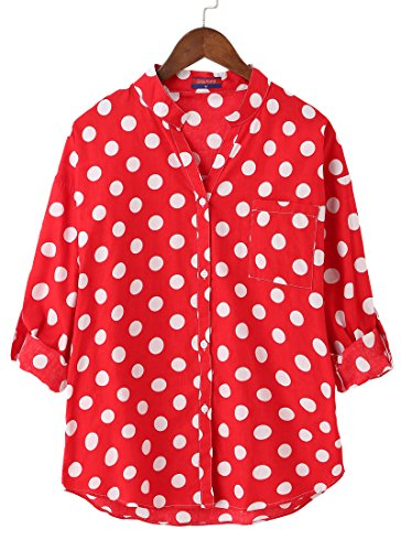 Dioufond® Camisas Mujer Manga Larga Estampada de Lunares de Moda de Casual Camisetas de Cuello en V(Rojo S)