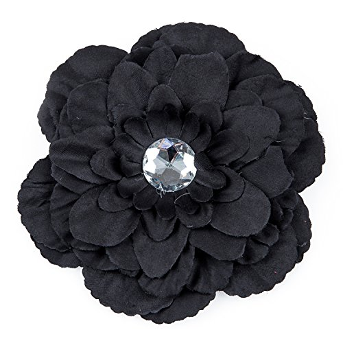 TOOGOO(R) Barrette Pince a Cheveux avec Fleur de Pivoine et Strass pour Enfants Filles Femmes - Noir